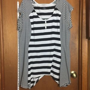 Black/White Striped Tunic